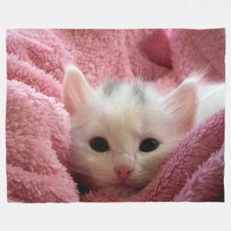 Cute Kitten In a Blanket Fleece Blanket, Large