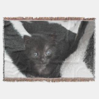 Cute Kitten In A Blanket Throw Blanket