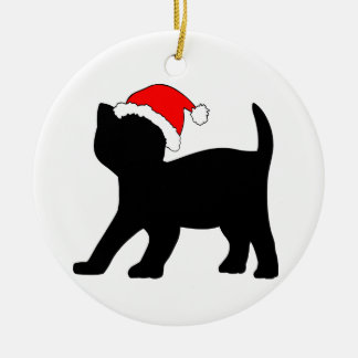Cute Kitten in a Christmas Hat. Christmas Ornament