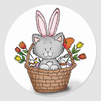 Cute kitten in the Easter Basket Classic Round Sticker