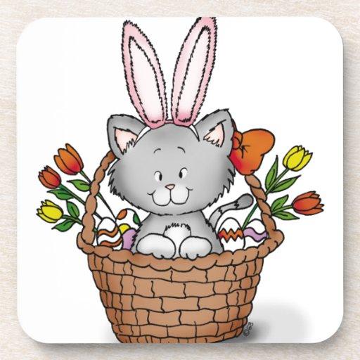 Cute kitten in the Easter Basket Beverage Coaster