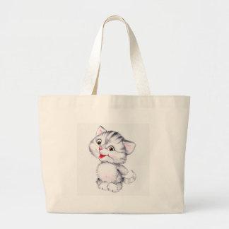 Cute kitten large tote bag
