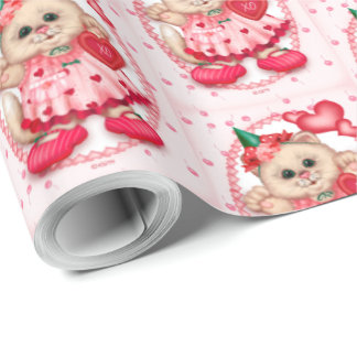 "CUTE KITTEN LOVE CARTOON Wrapping Paper 30"" x 30'"