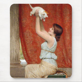 Cute Kitten Painting Mouse Pad
