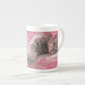 Cute Kitten Pink China Mug - Scratchy Cat Bone China Mug