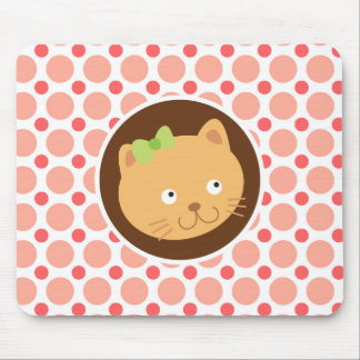 Cute Kitten; Pink & Coral Polka Dots Mouse Pad