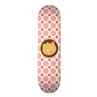 Cute Kitten; Pink & Coral Polka Dots Custom Skate Board