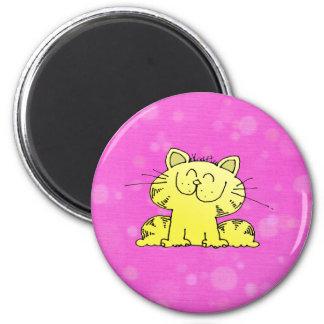 Cute Kitten Pink Room 6 Cm Round Magnet
