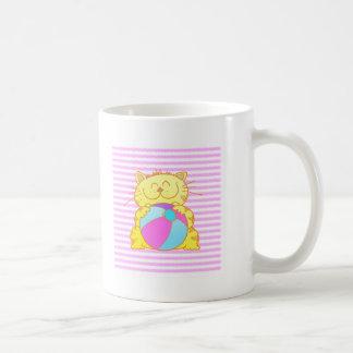 Cute Kitten Play Beach Ball Basic White Mug