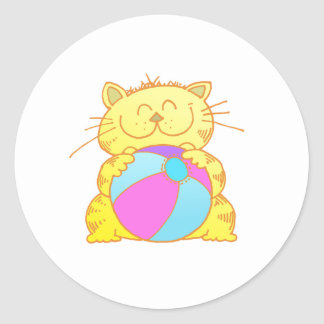 Cute Kitten Play Beach Ball Round Sticker