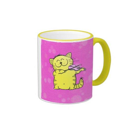 Cute Kitten Play Violin Coffee Mug