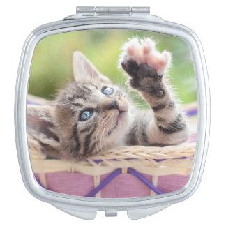 Cute Kitten Playing In Basket Vanity Mirror