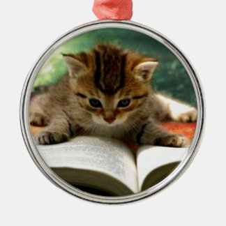 Cute Kitten Reading a Book Christmas Ornament