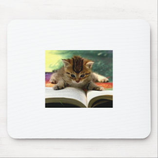 Cute Kitten Reading a Book Mouse Pad