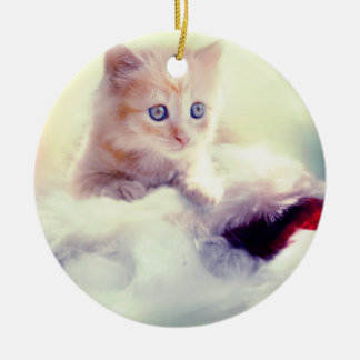 Cute Kitten Round Christmas Decoration