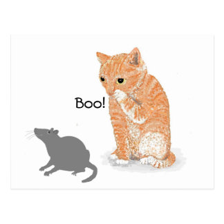 "Cute Kitten  saying ""Boo!"" to a smiling rat. Postcard"