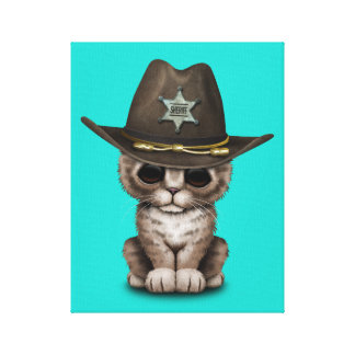 Cute Kitten Sheriff Canvas Print