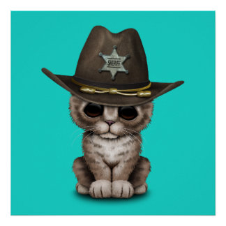 Cute Kitten Sheriff Poster