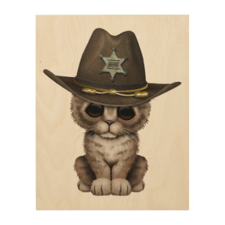 Cute Kitten Sheriff Wood Canvases