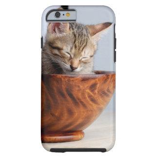 Cute Kitten sleeping in bowl Tough iPhone 6 Case