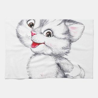 Cute kitten tea towel