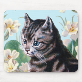 Cute kitten - vintage cat art mouse pad