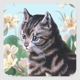 Cute kitten - vintage cat art square sticker