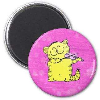 Cute Kitten Violinist 6 Cm Round Magnet
