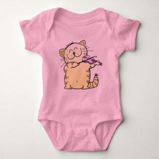 Cute Kitten Violinist Baby Bodysuit