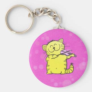 Cute Kitten Violinist Basic Round Button Key Ring
