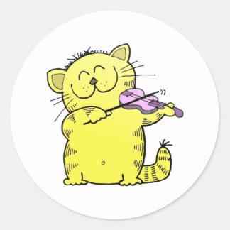 Cute Kitten Violinist Round Sticker