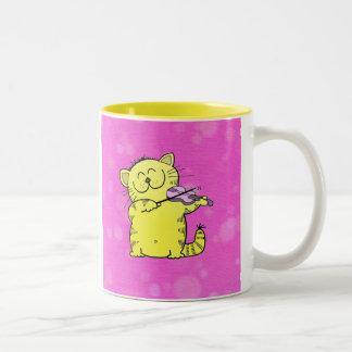 Cute Kitten Violinist Two-Tone Coffee Mug