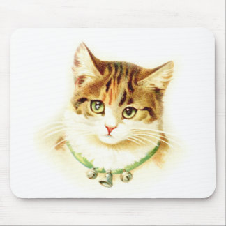 Cute kitten with bells on necklace - for cat lover mouse pad