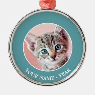 Cute kitten with blue eyes. christmas ornament