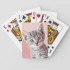 Cute kitten with blue eyes. playing cards