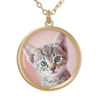 Cute kitten with blue eyes round pendant necklace