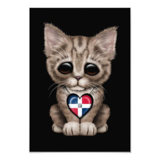 "Cute Kitten with Dominican Republic Heart, black 3.5"" X 5"" Invitation Card"
