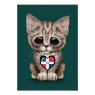 Cute Kitten with Dominican Republic Heart teal Personalized Invites