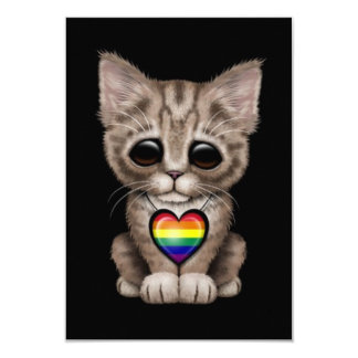 Cute Kitten with Rainbow Gay Pride Heart, black Invites
