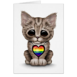 Cute Kitten with Rainbow Gay Pride Heart, white Card