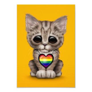 Cute Kitten with Rainbow Gay Pride Heart, yellow Custom Announcements