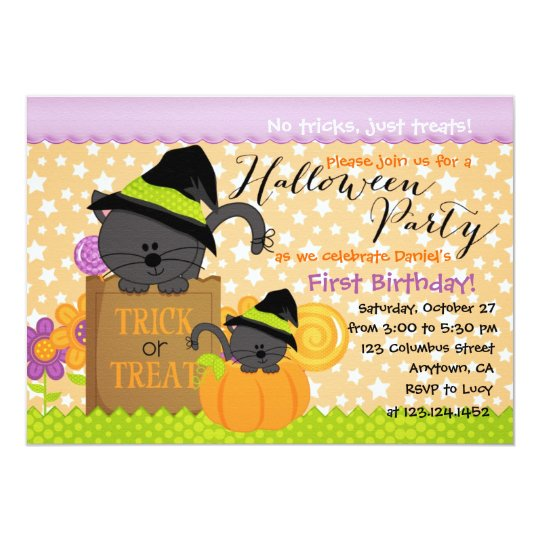 Cute Kittens Halloween Party Birthday for Kids Card