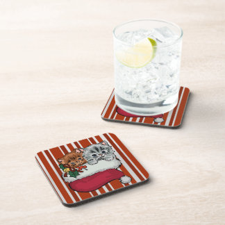 Cute Kittens in a Christmas Stocking Drink Coaster