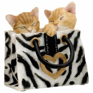 Cute Kittens in Zebra Print Handbag Keychain Photo Sculpture Key Ring