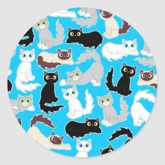 Cute Kitties Cartoon Cat Print - Blue Round Sticker