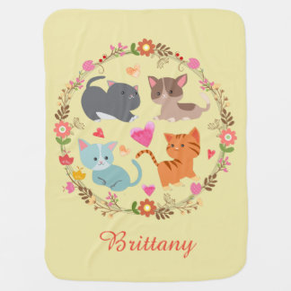 Cute Kitties in Flower Wreath Baby Blanket