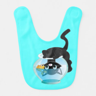 Cute Kitty and Fish Bowl Bib