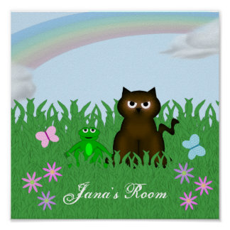 Cute Kitty and Frog Personalized Poster