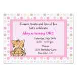 Cute Kitty Cat 1st Birthday Invitation for Girls