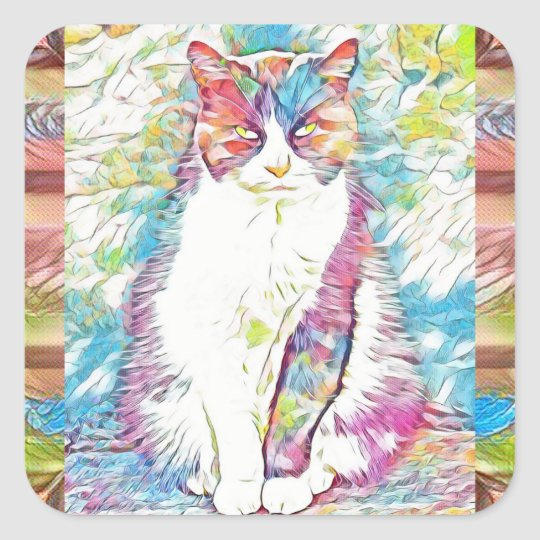 Cute Kitty Cat Abstract Art Stickers